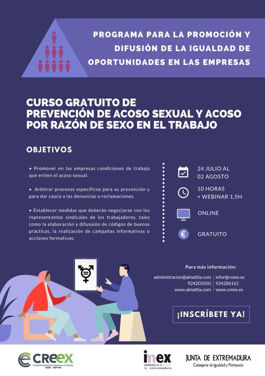 Curso gratuito de prevención del acoso sexual y acoso por razón de sexo en el trabajo