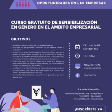 CREEX ofrece un curso gratuito de sensibilización en género en el ámbito empresarial