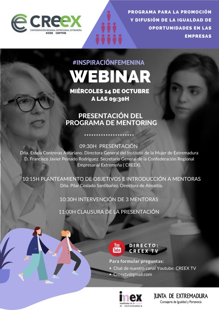 CREEX organiza el webinar '#INSPIRACIONFEMENINA: Presentación del Programa de Mentoring', dentro de su plan de fomento de la igualdad de oportunidades