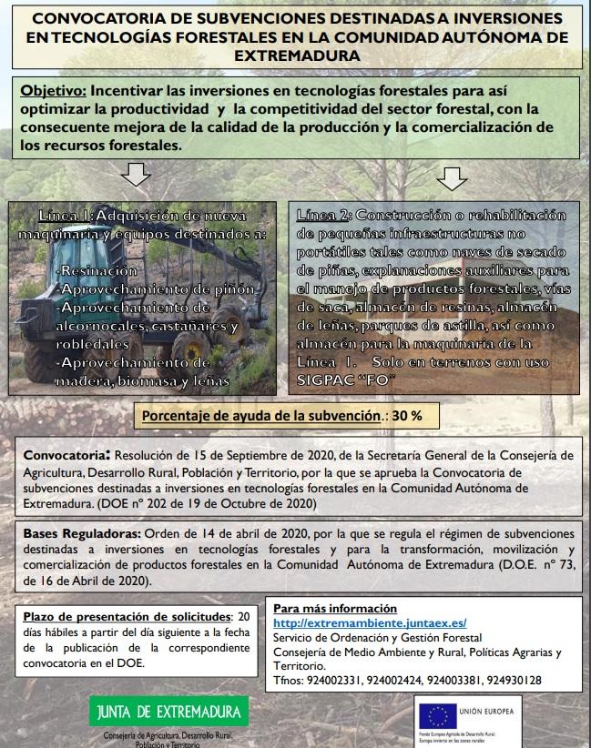Ampliado el plazo para solicitar ayudas para inversiones en tecnologías forestales