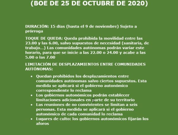 Estado de Alarma: Real Decreto publicado en el BOE de 25 de octubre de 2020