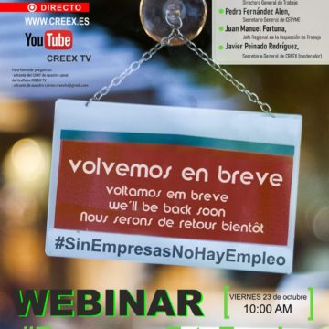 Webinar #EmpresaErteEmpleo de CREEX para analizar la situación de las empresas extremeñas en ERTE a la luz de la nueva normativa