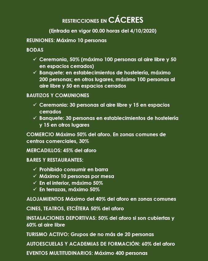 Cáceres entra en nuevas restricciones mientras Badajoz saldrá de ellas esta medianoche