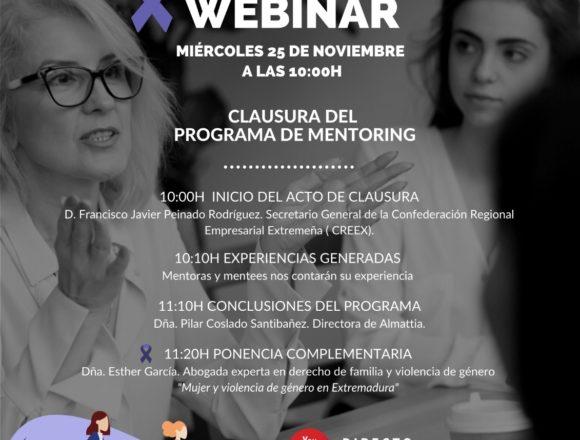 CREEX clausura este miércoles su Programa de Mentoring, encuadrado en las acciones para promocionar la igualdad de oportunidades en las empresas
