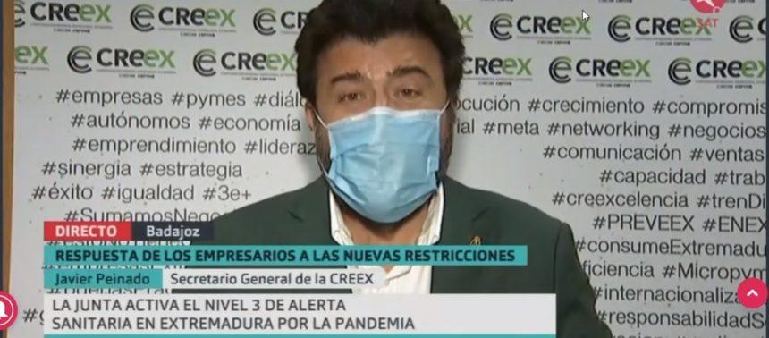 Javier Peinado valora en Canal Extremadura TV las nuevas restricciones a la actividad