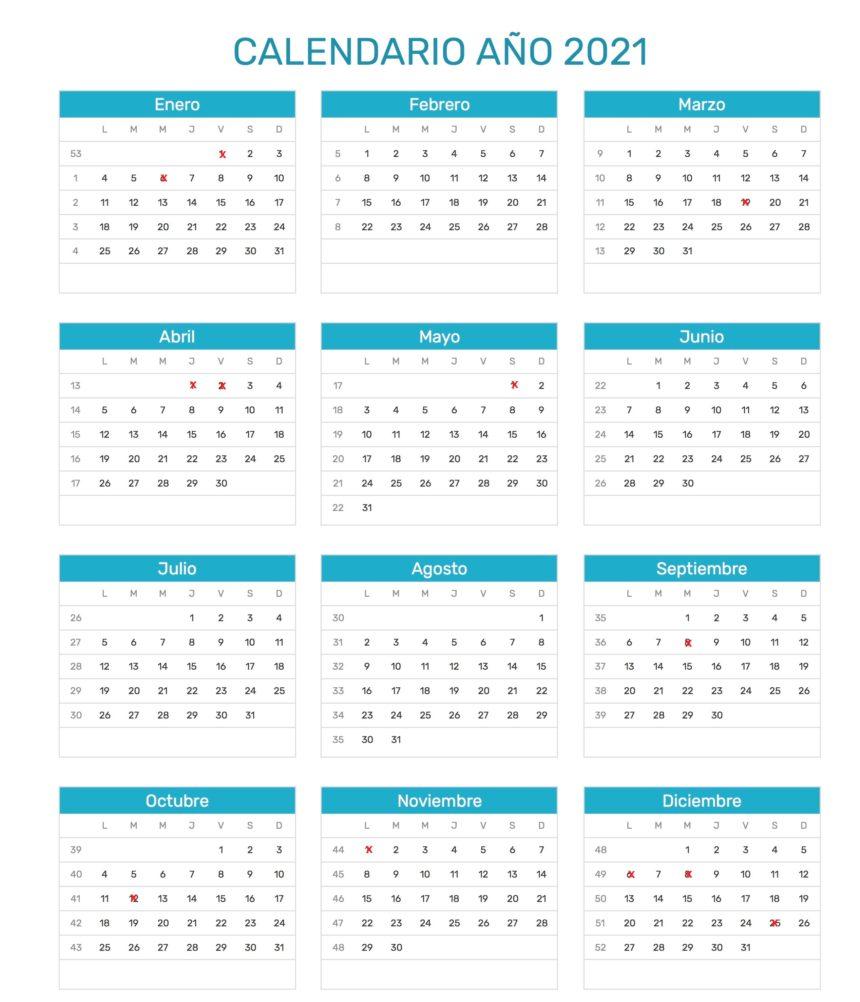 Calendario de días inhábiles a efectos de cómputo de plazos administrativos en 2021