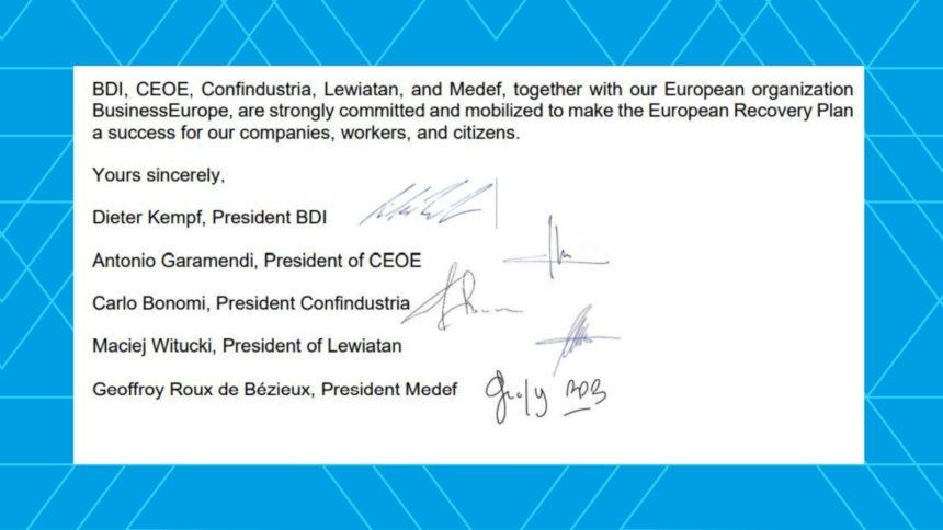 Los empresarios europeos piden a la UE la puesta en marcha urgente del Plan de Recuperación
