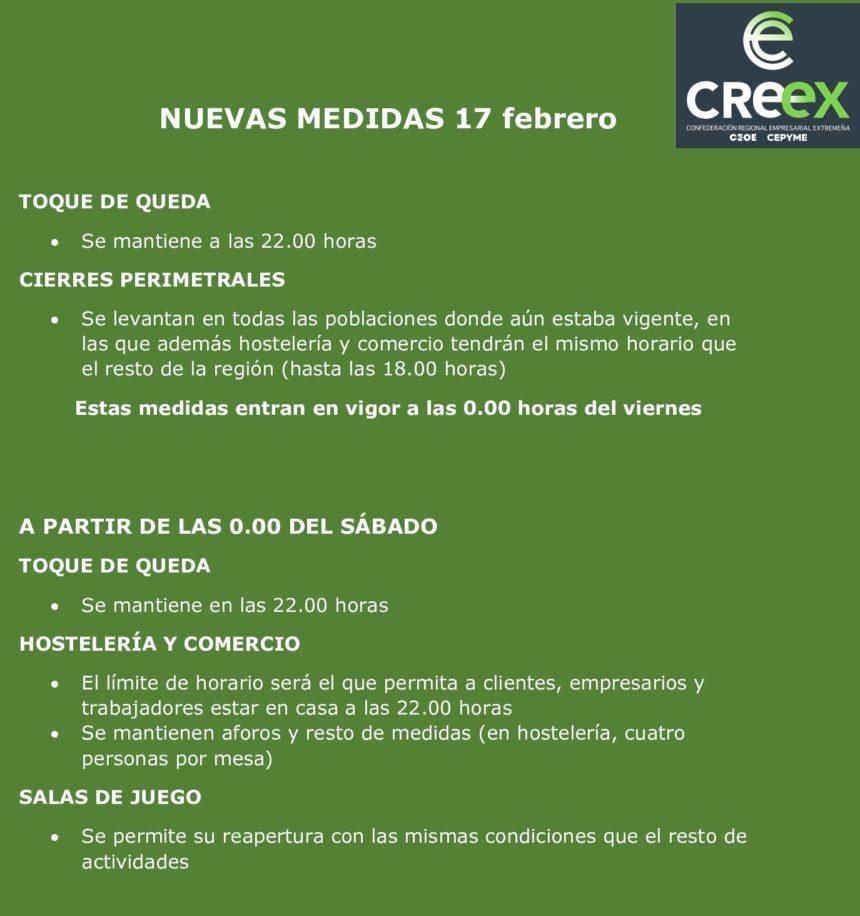CREEX ve con optimismo las nuevas medidas y espera que el viernes se implanten los horarios de actividad económica hasta el límite del toque de queda