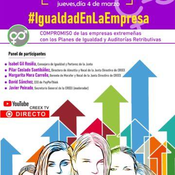 #IgualdadEnLaEmpresa: webinar de CREEX sobre el compromiso de las empresas extremeñas con los Planes de Igualdad y Auditorías Retributivas