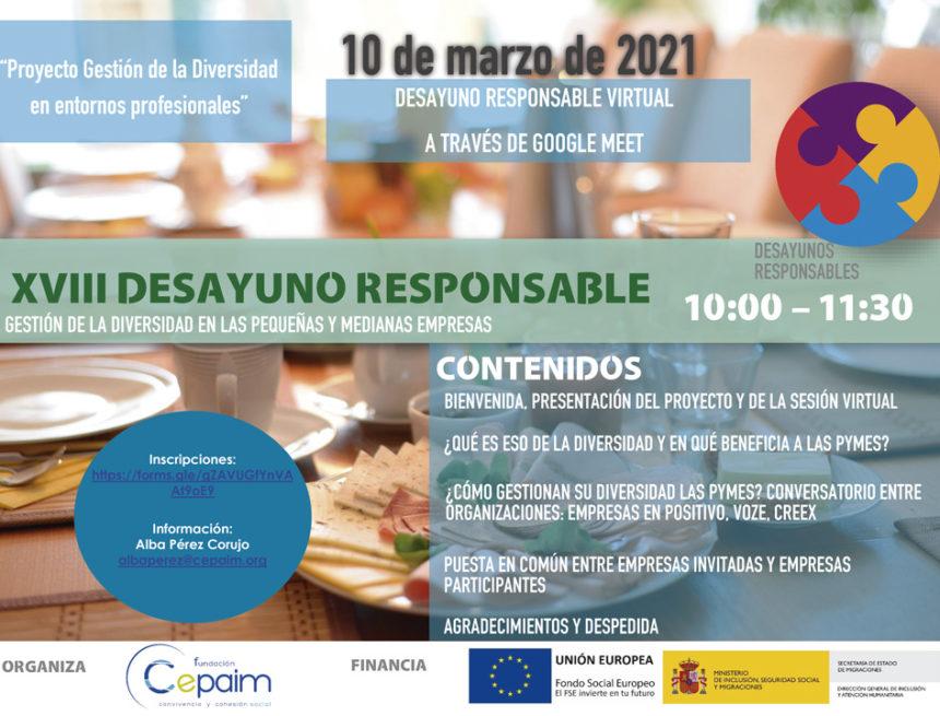CREEX colabora en la XVIII edición de los Desayunos Responsables de la Fundación CEPAIM
