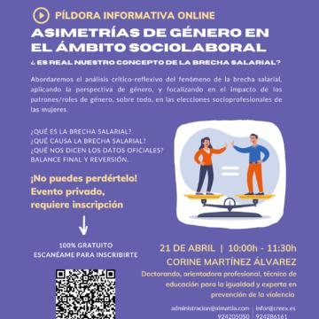 CREEX pone en marcha sus 'píldoras informativas' online sobre Igualdad, abordando el tema de las brechas salariales
