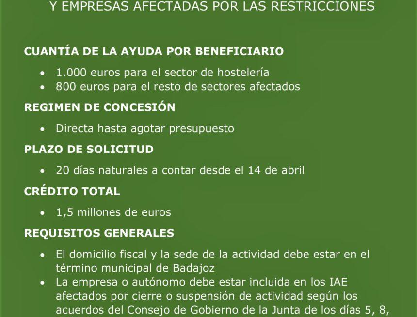 El Ayuntamiento de Badajoz abre la convocatoria de ayudas a empresas y autónomos afectadas por las restricciones a la actividad