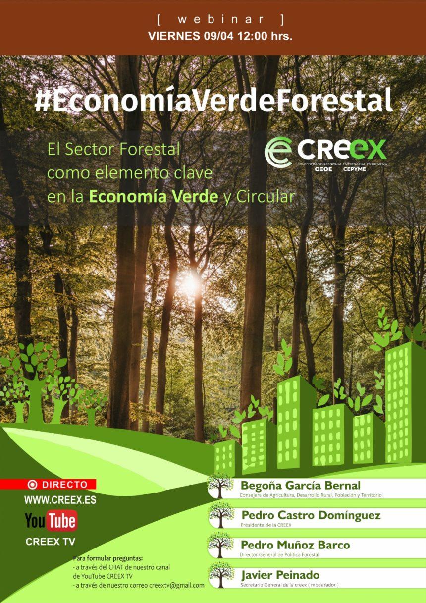 CREEX aborda la importancia del sector forestal en la Economía Verde y Circular con el webinar #EconomiaVerdeForestal