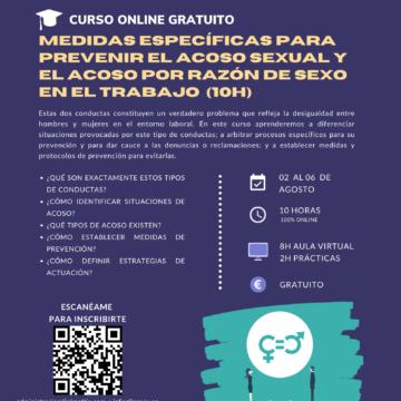 Igualdad: curso gratuito sobre medidas específicas para prevenir el acoso sexual y el acoso por razón de sexo en el trabajo
