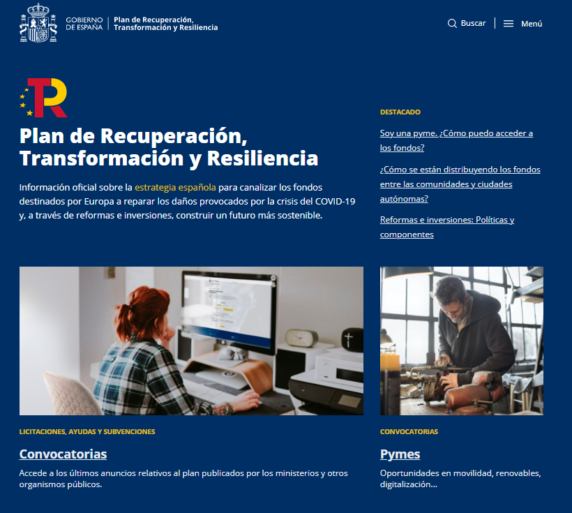Nueva web del Gobierno sobre los fondos del Plan de Recuperación, Transformación y Resiliencia y el plan Next Generation EU