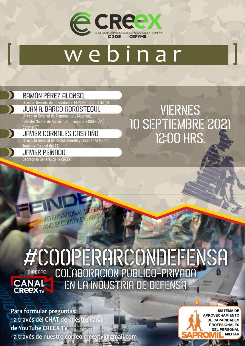 Webinar #CooperarConDefensa: oportunidades para que las empresas se integren en la cadena de suministro de defensa y seguridad y para que capten talento entre profesionales que han dejado el Ejército