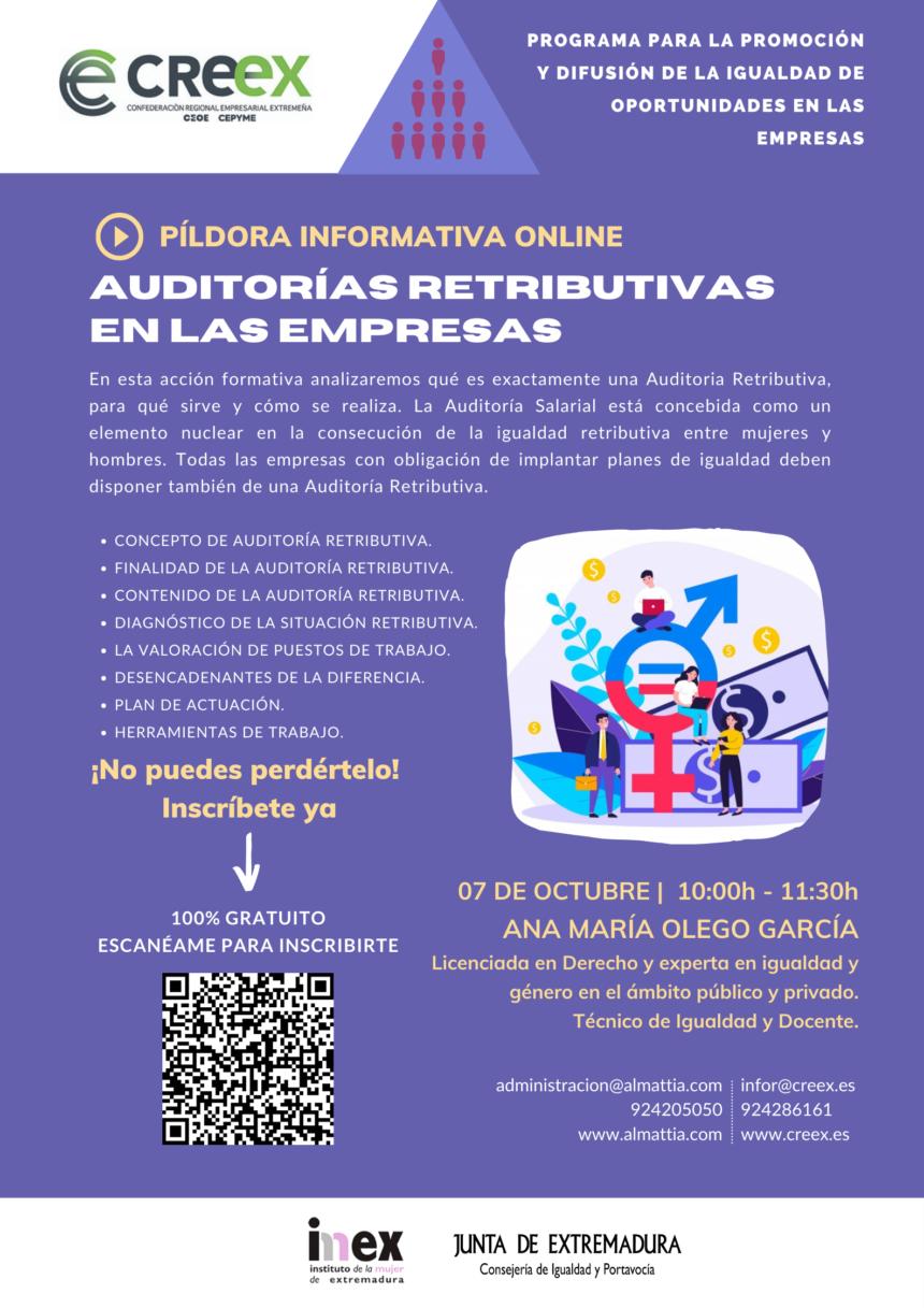 Este jueves, nueva Píldora de Igualdad para informar sobre las Auditorías Retributivas en las empresas